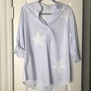 Tops - Star Blouse Roll Up Sleeves NEW